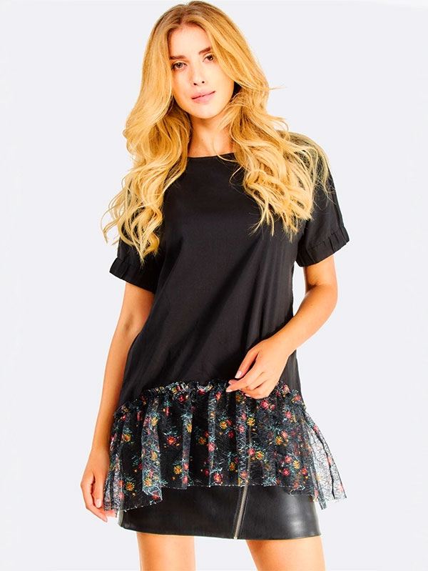 Асиметрична блуза Black Asymmetric Blouse With Ruffles