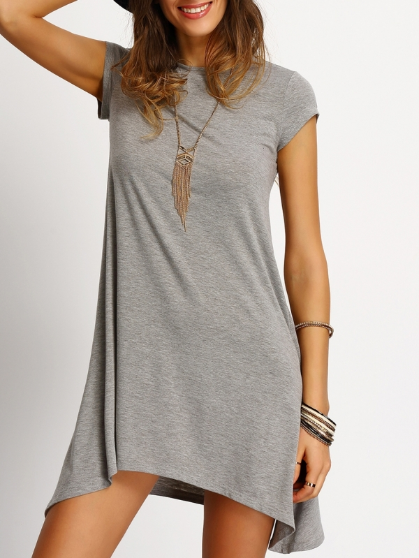 Асиметрична рокля Grey Asymmetric Hem Casual Shift Dress