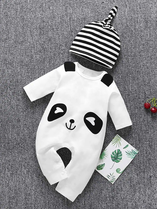 Бебешко комплектче Baby Panda Print Button Jumpsuit With Hat