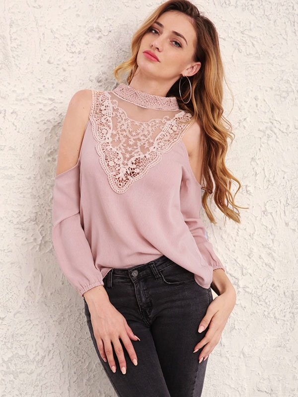 Дамска блуза Contrast Lace Cold Shoulder Blouse