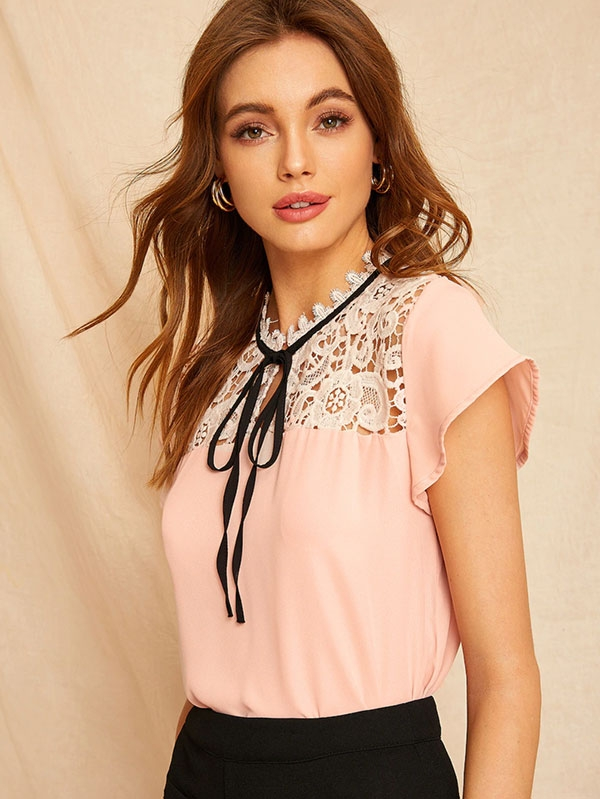 Дамска блуза Contrast Lace Knot Neck Blouse