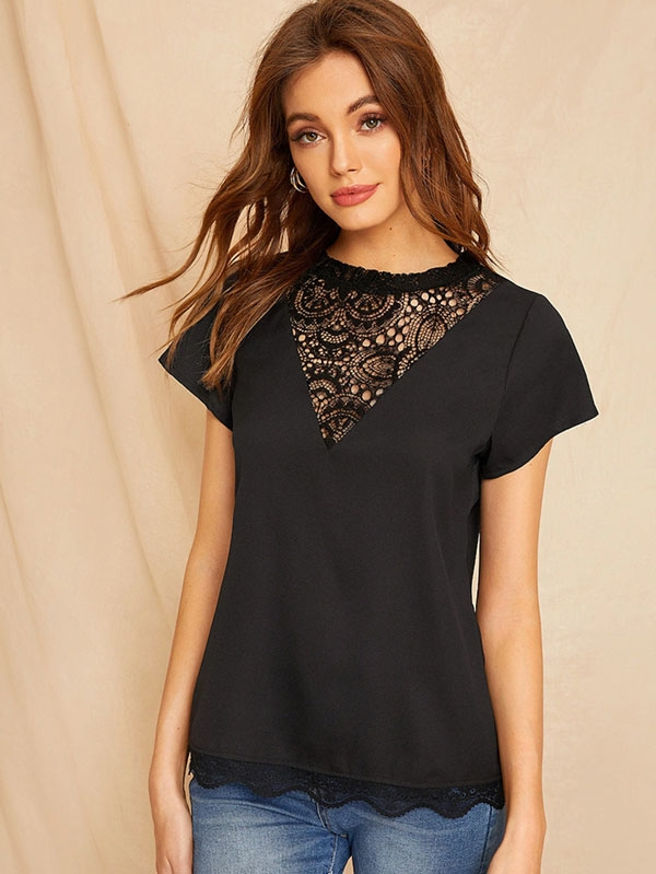 Дамска блуза Contrast Lace Scallop Trim Blouse