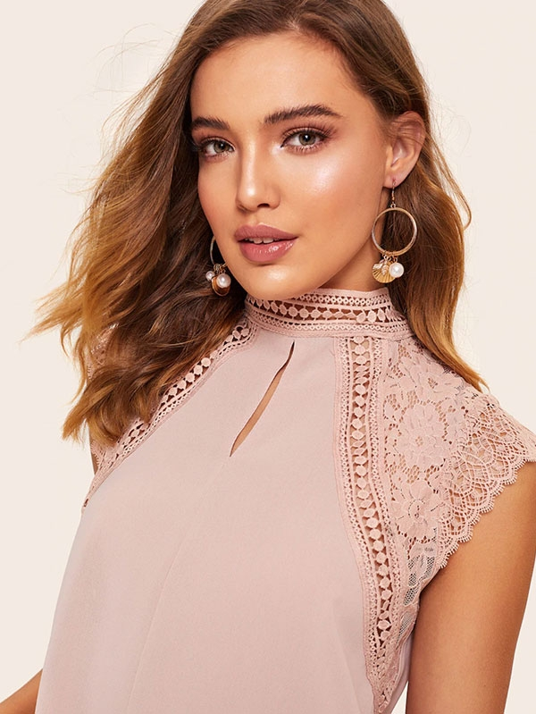 Дамска блуза Contrast Lace Stand Collar Blouse