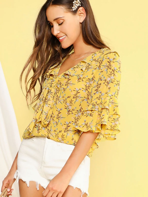 Дамска блуза Ditsy Floral Tie Neck Layered Flounce Sleeve Top