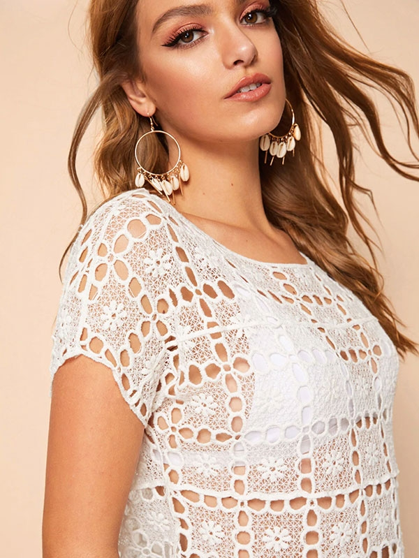 Дамска блуза Eyelet Embroidery Blouse