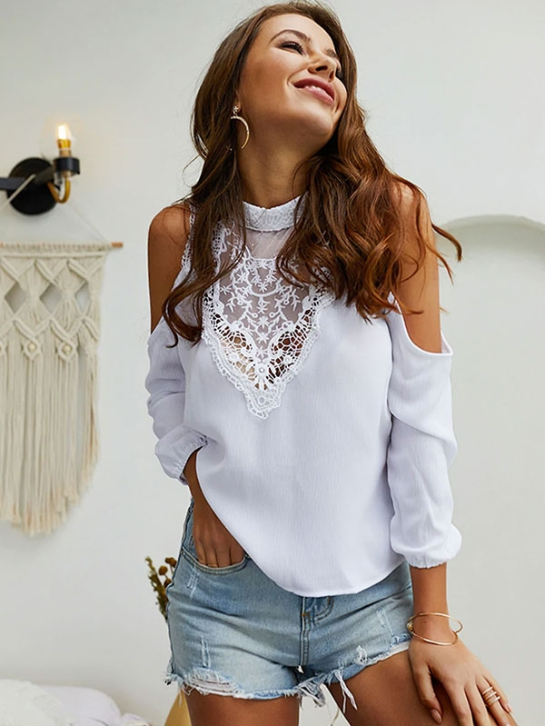 Дамска блуза Mock Neck Cold Shoulder Contrast Lace Blouse