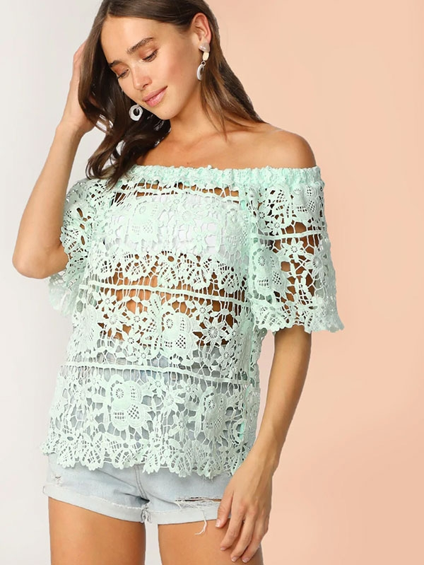 Дамска блуза Off Shoulder Guipure Lace Top Without Bandeau