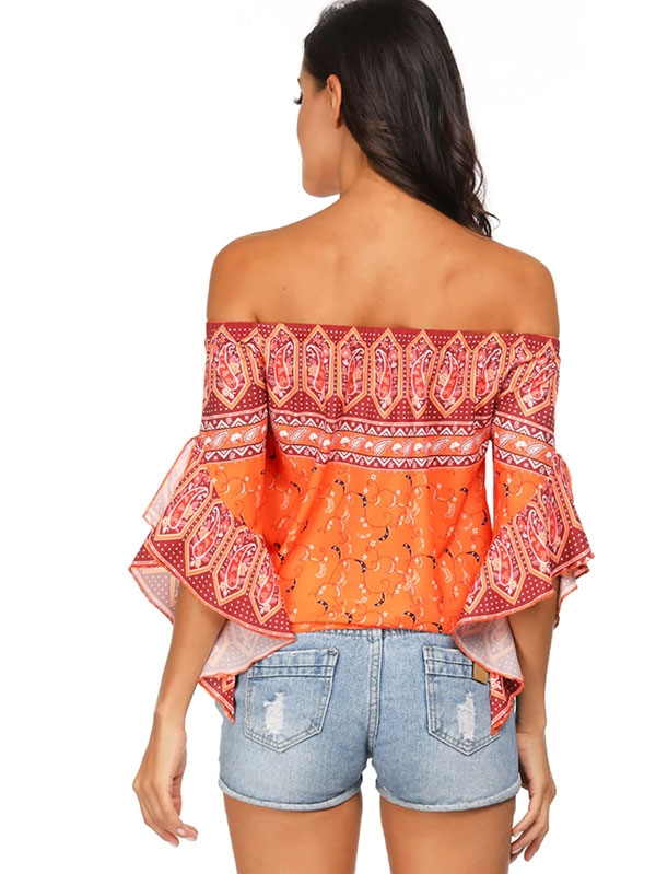 Дамска блуза Paisley Off The Shoulder Knot Hem Blouse