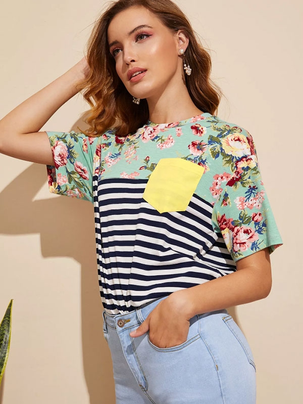 Дамска блуза Pocket Patch Floral & Striped Tee