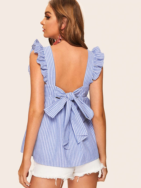 Дамска блуза Ruffle Armhole Tie Back Striped Blouse
