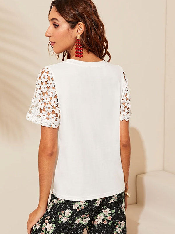 Дамска блуза Solid Guipure Lace Sleeve Tee
