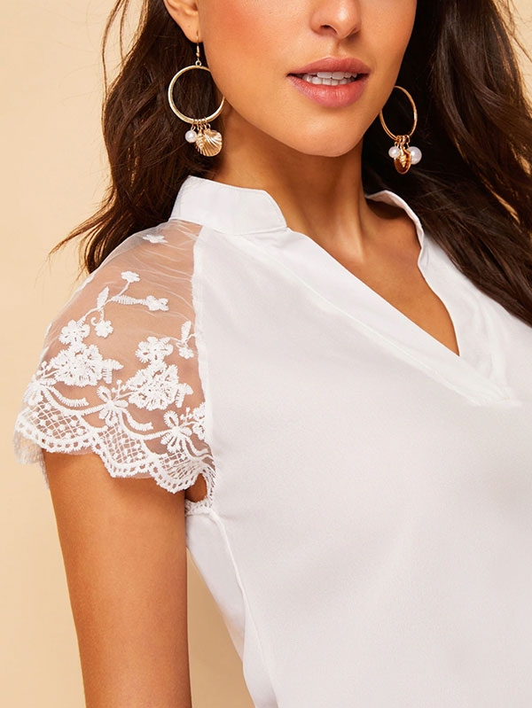 Дамска блуза V-Neck Contrast Lace Cuff Blouse