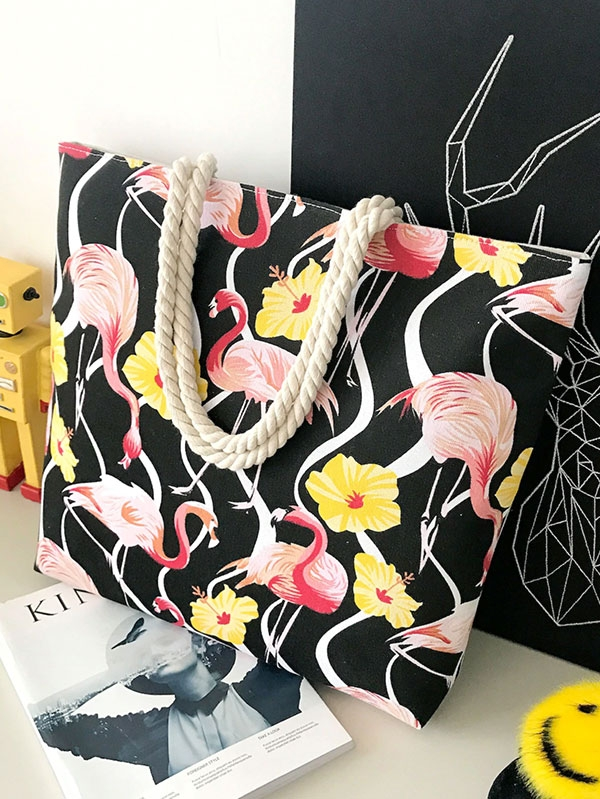 Дамска чанта Flamingo Print Canvas Tote Bag