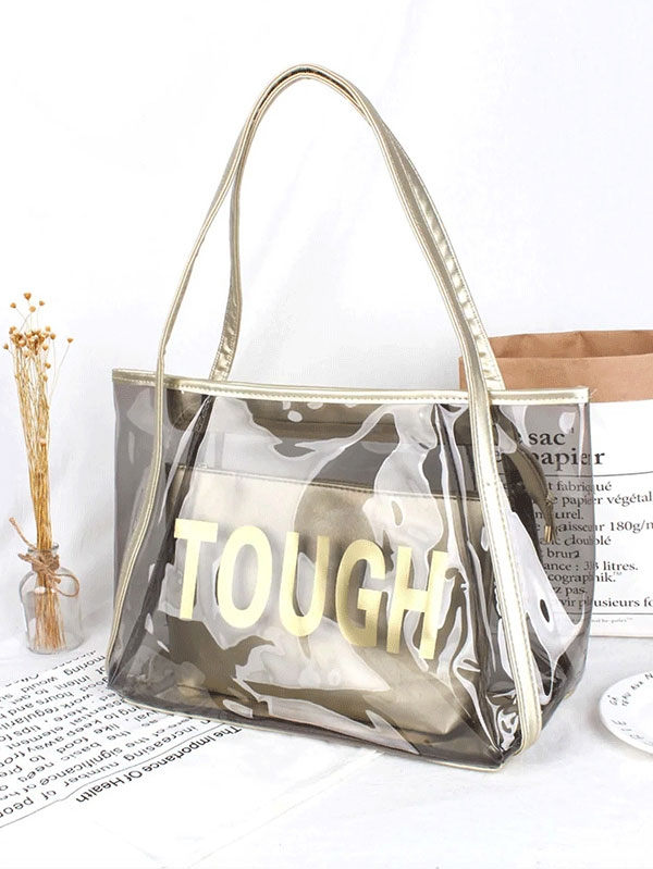 Дамска чанта Letter Print Tote Bag With Inner Clutch