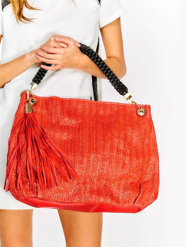 Дамска чанта OVERSIZED BEACH BAG WITH TASSEL