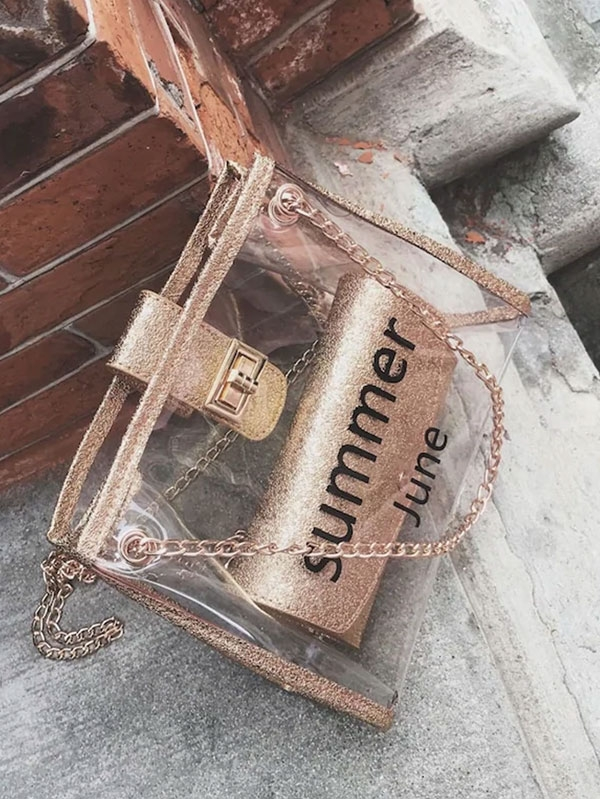 Дамска чанта Random Twist Lock Slogan Print Chain Bag With Inner Clutch
