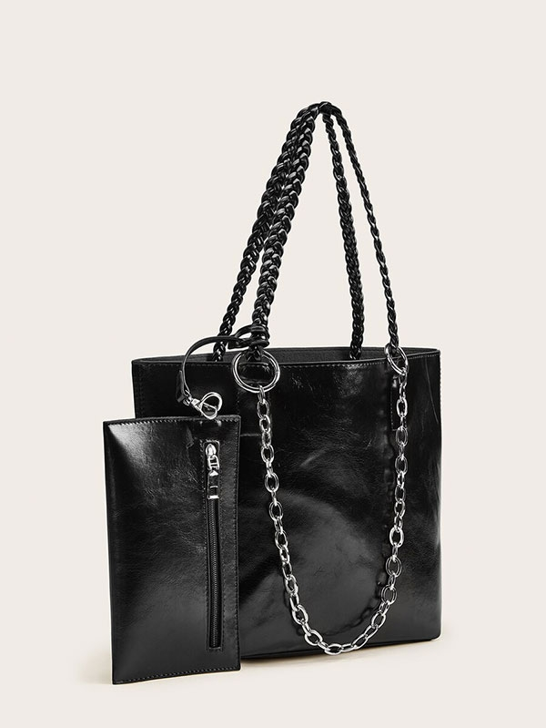 Дамска черна чанта Chain Strap Braided Handle Tote Bag