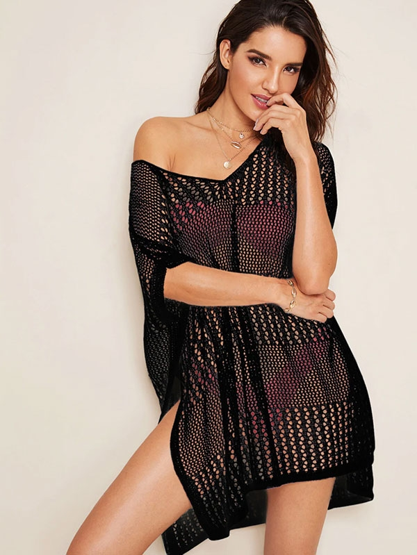 Дамска черна туника Split Side Sheer Crochet Cover Up Without Lingerie Set