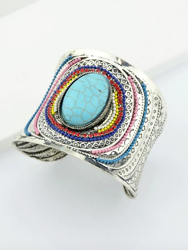 Дамска гривна Blue Beads Gemstone Cuff Bangle