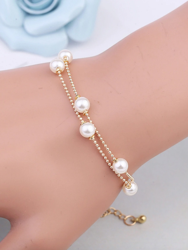 Дамска гривна Faux Pearl Decorated Layered Bracelet