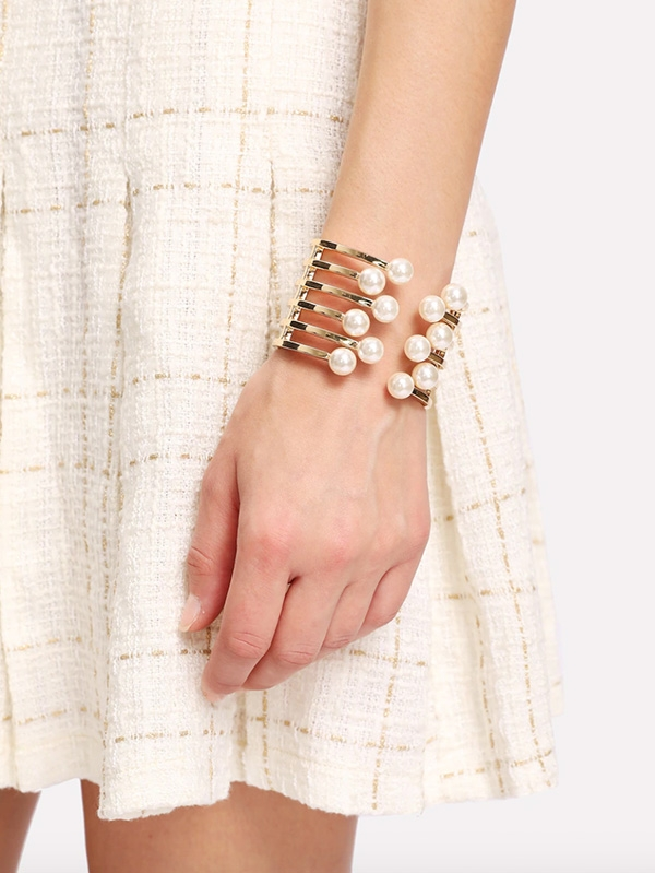 Дамска гривна с перли Faux Pearl Detail Layered Cuff Bracelet