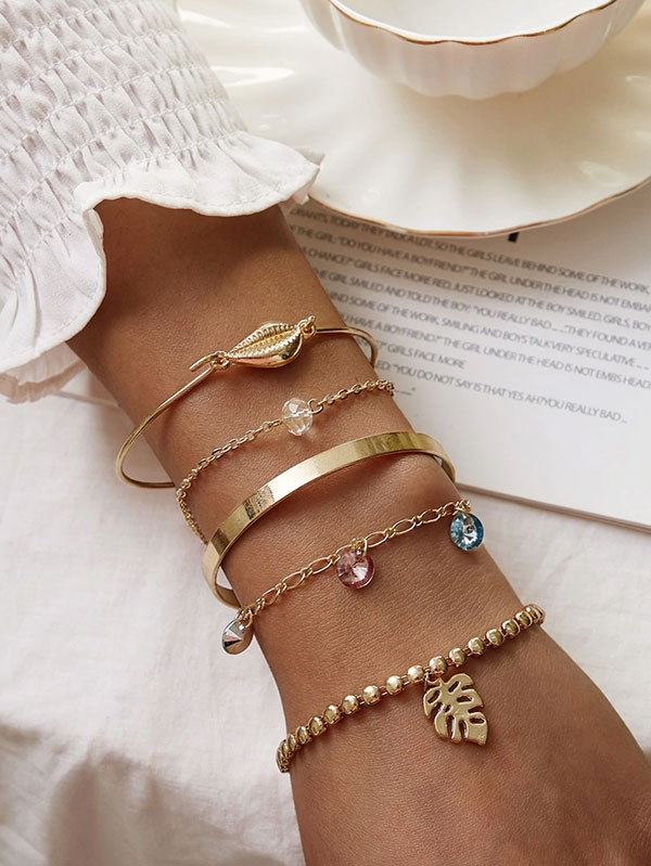 Дамска гривна Shell & Leaf Decor Bracelet