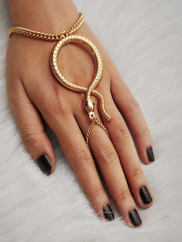 Дамска гривна Snake Design Toe Ring Chain Bracelet