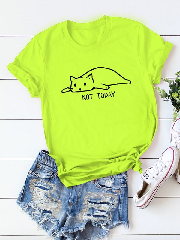 Дамска неонова тениска Neon Lime Cat And Letter Print Rolled Cuff Tee