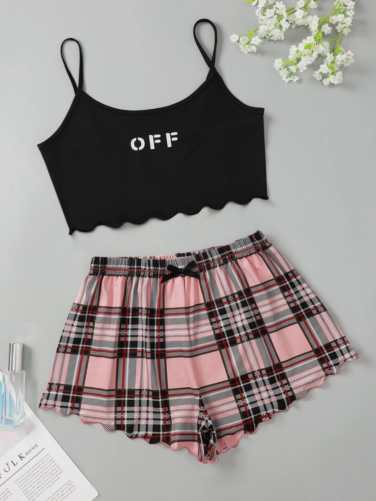Дамска пижама каре Letter Graphic Crop Cami Top With Shorts Pajama Set
