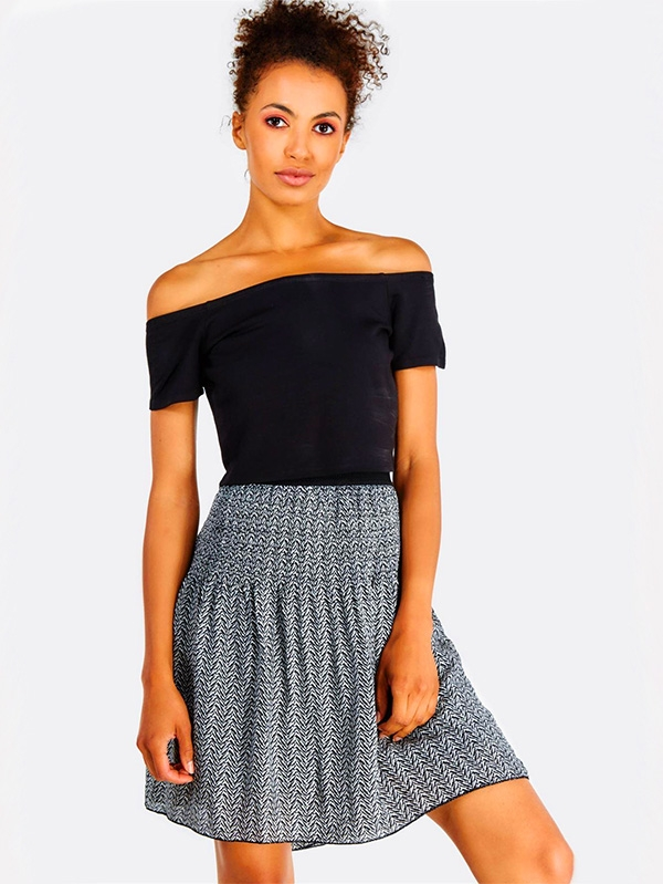 Дамска пола Black And White Flared Short Skirt
