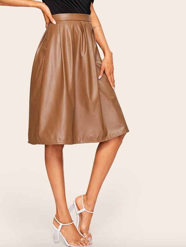 Дамска пола Boxed Pleated PU Leather Skirt