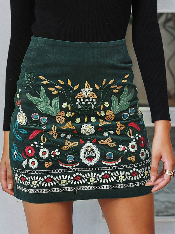 Дамска пола Floral Embroidered Skirt