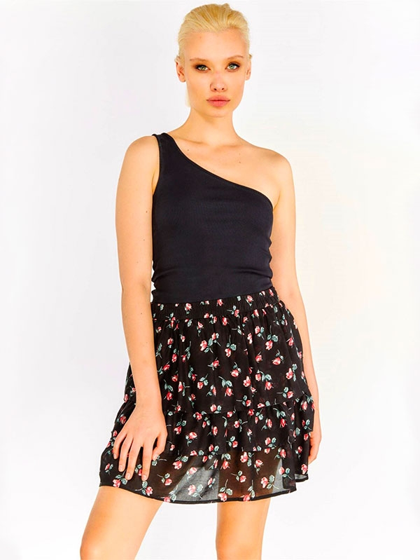 Дамска пола на цветя Black Flower Patterned Skirt