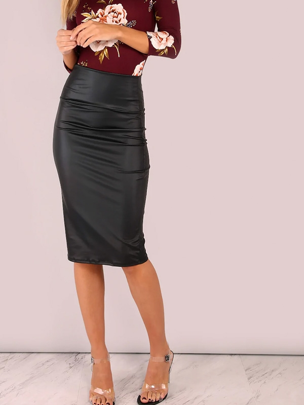 Дамска пола Wide Waistband Coated Pencil Skirt