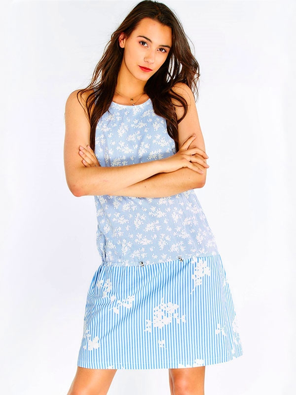 Дамска рокля Blue Cotton Dress With Stripes