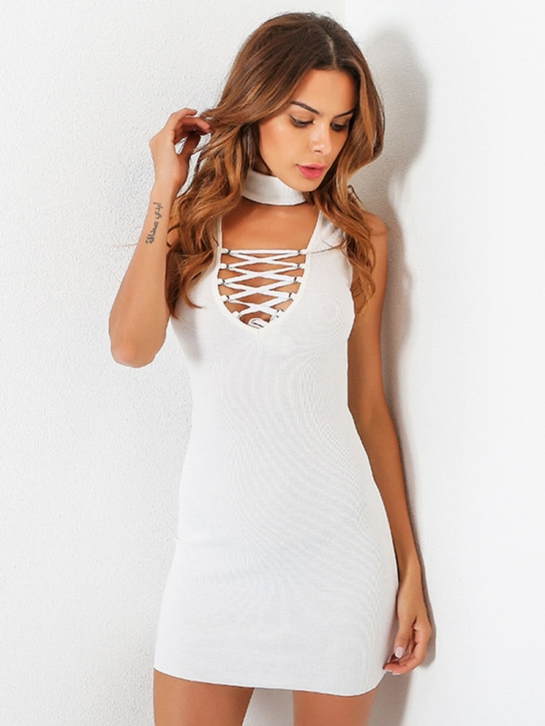 Дамска рокля Choker Plunge Lace Up Bodycon Dress