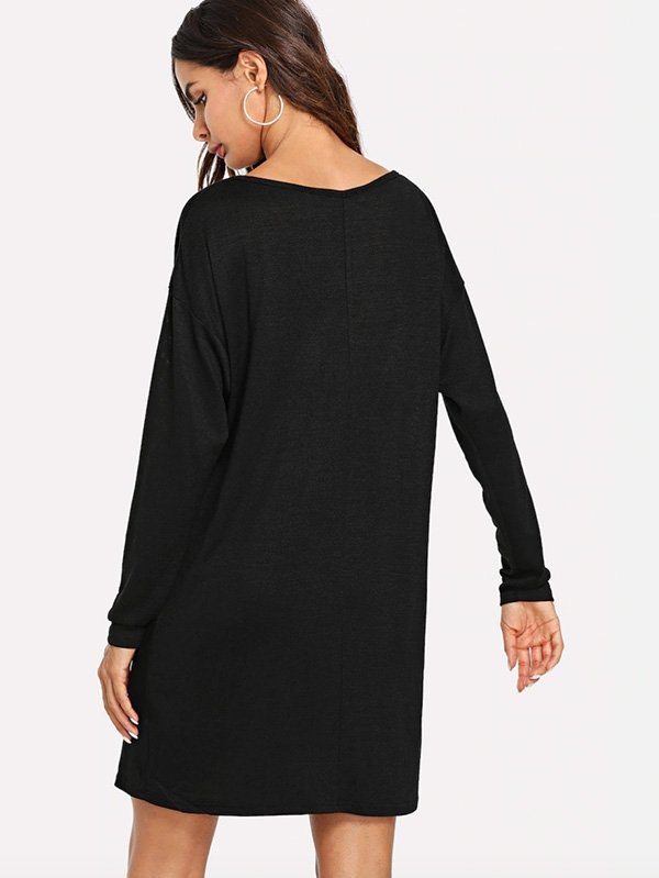 Дамска рокля Drop Shoulder Marled Knit Tee Dress