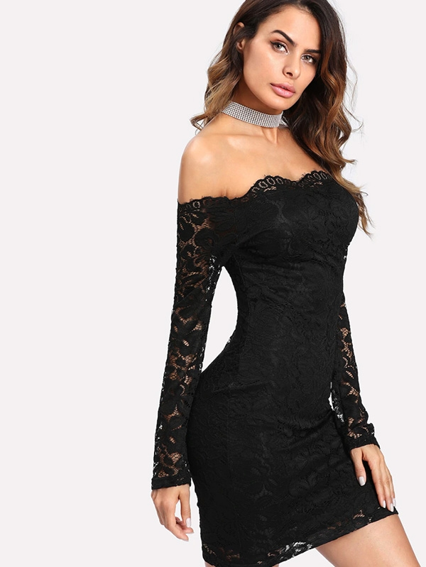 Дамска рокля Floral Lace Overlay Bardot Bodycon Dress