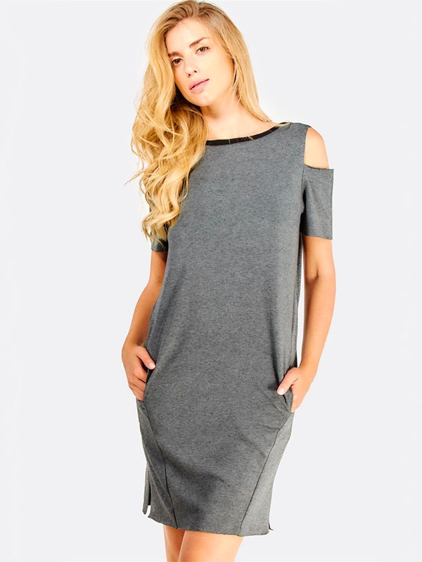 Дамска рокля Grey Dress With Side Pockets