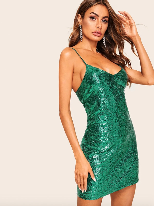 Дамска рокля Open Back Form Fitting Sequin Cami Dress