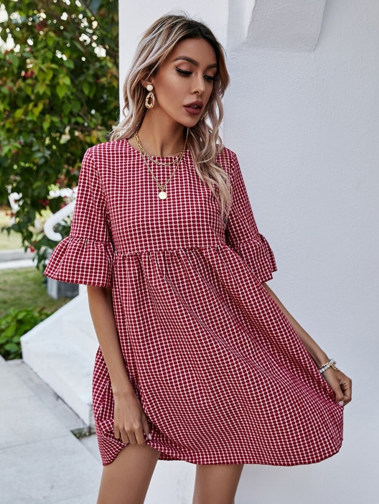 Дамска рокля Plaid Flounce Sleeve Smock Dress