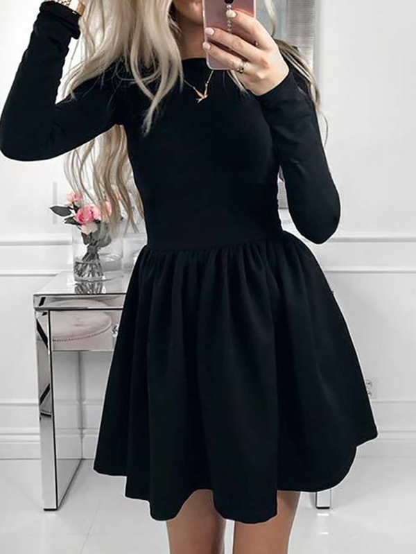 Дамска рокля Solid Long Sleeve Pleated Puff Dress