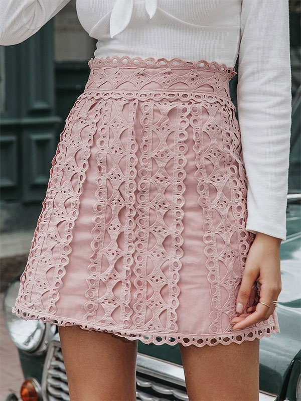 Дамска розова пола Trim Lace Skirt