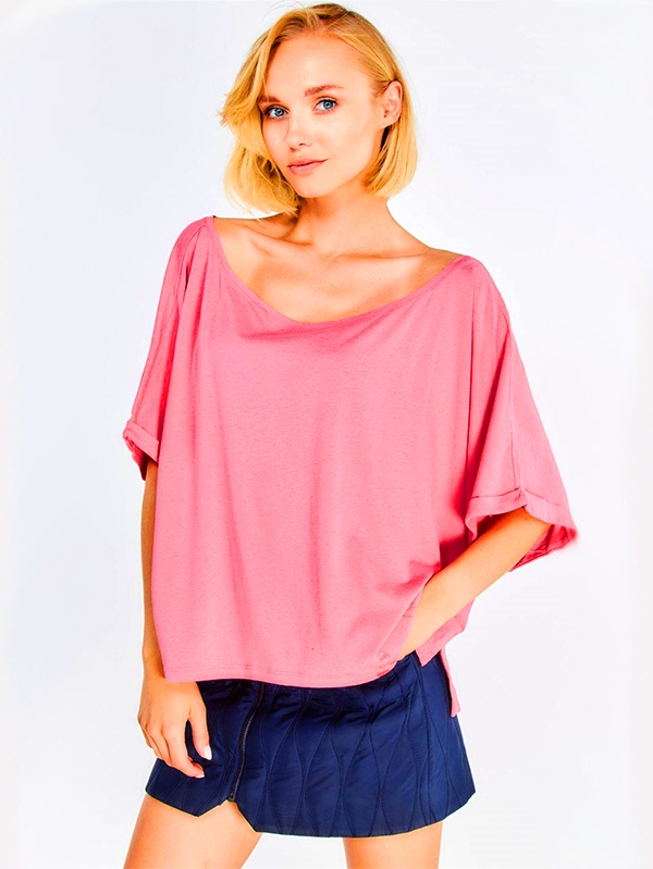 Дамска свободна блуза Pink Loose Blouse With Side Slits