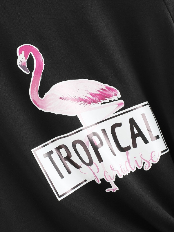 Дамска тениска Flamingo And Letter Print Tee