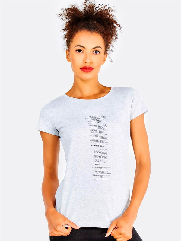 Дамска тениска Light Grey Cotton T-Shirt With Text Print