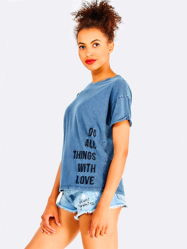 Дамска тениска Navy Cotton T-Shirt With Text Print
