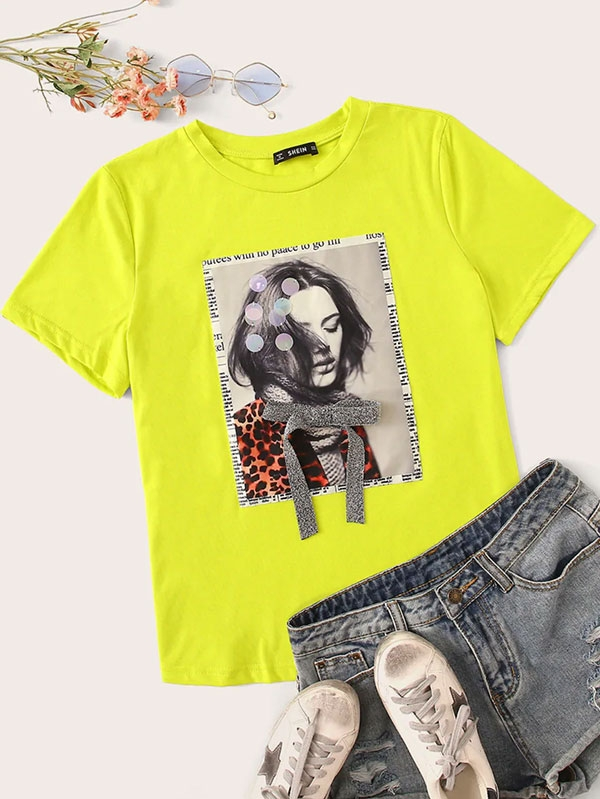 Дамска тениска Neon Green Figure Print Sequin Detail Tee