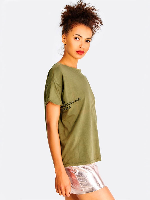 Дамска тениска Olive Green Cotton T-Shirt With Embroidered Text