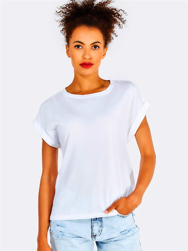 Дамска тениска White Cotton T-Shirt With Back Tie String Detail